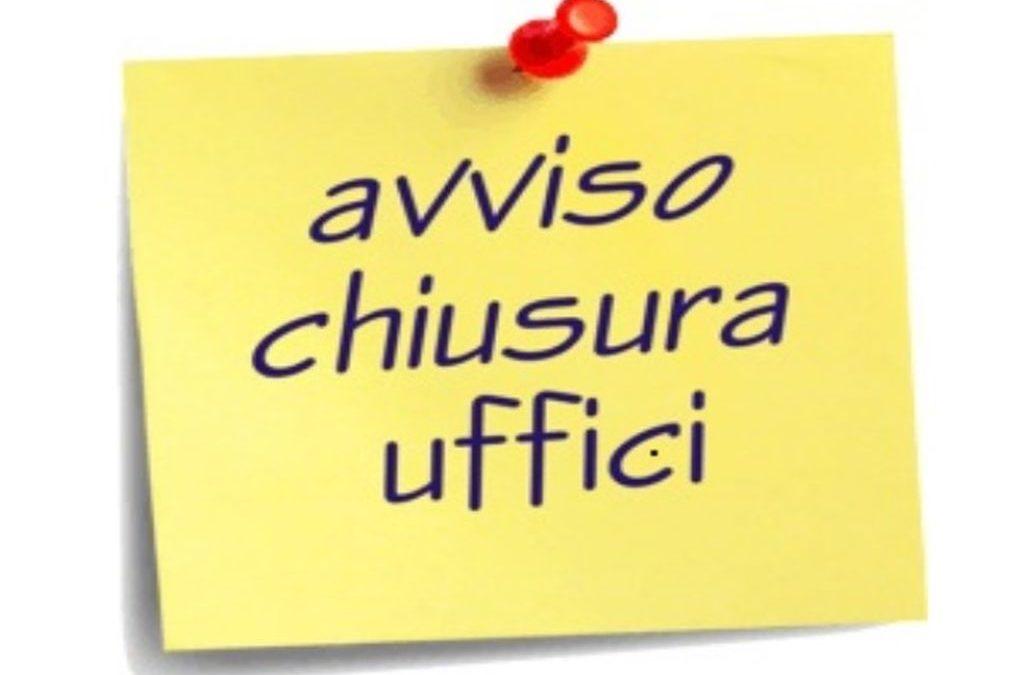 CHIUSURA UFFICIO TECNICO MERCOLED' 18 SETTEMBRE