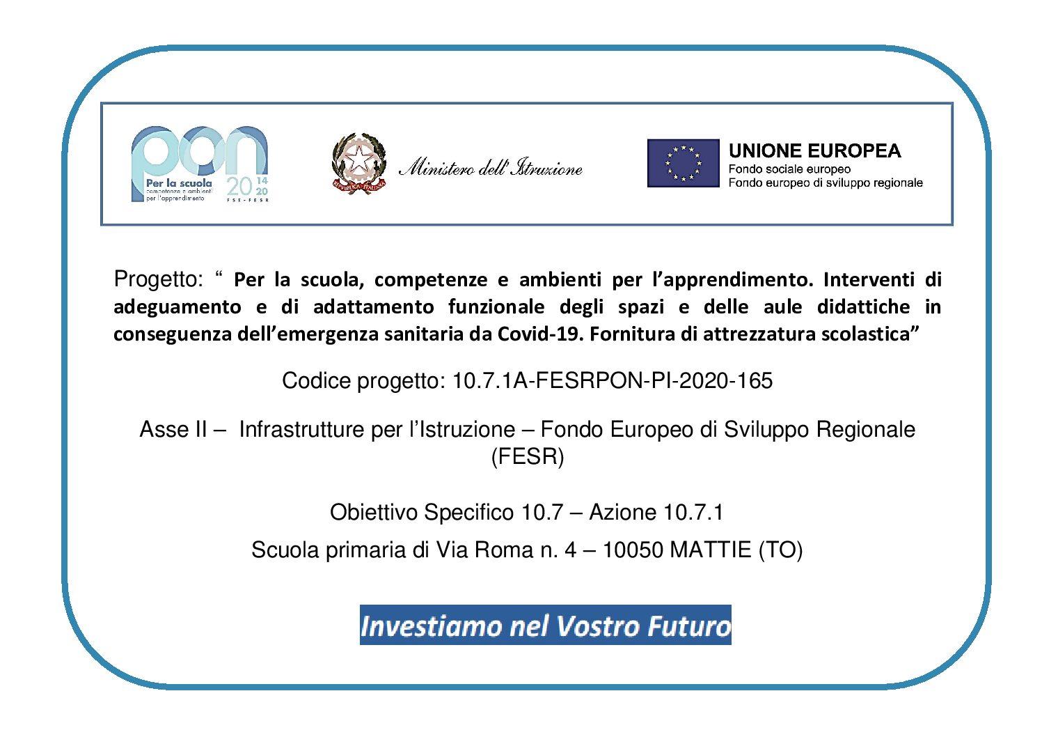 FONDI STRUTTURALI PON- FESR 2014-2020